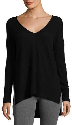 Three Dots V-Neck High-Low Top