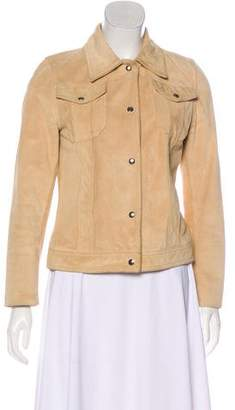 Barneys New York Barney's New York Button-Up Leather Jacket