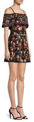 Alice + Olivia Francina Cold-Shoulder Embroidery Dress