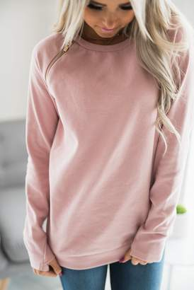 Ampersand Avenue SideZip Pullover - Pink
