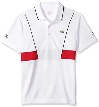 Lacoste Men's Short Sleeve Pique Ultra Dry with Contrast Broken Yoke & Piping Polo