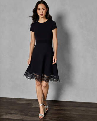 Ted Baker ELLIJO Lace trim knitted skater dress