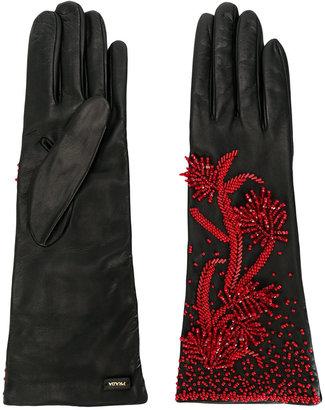 floral appliqué gloves