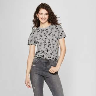 Disney Women's Short Sleeve Mickey Mouse Print T-Shirt (Juniors') Heather Gray