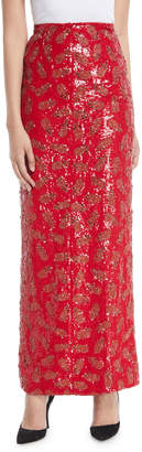 Brandon Maxwell Pineapple-Embroidered Straight Midi Skirt
