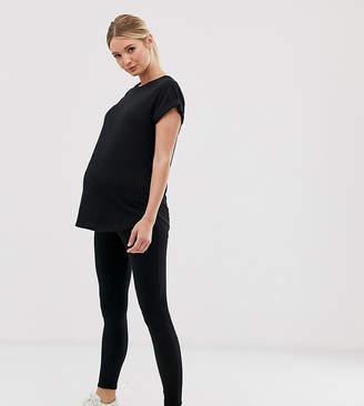 New Look Maternity ribbed high waist leggings in black