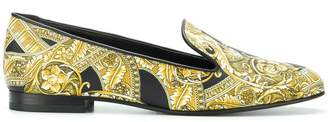 Versace Baroque print loafers