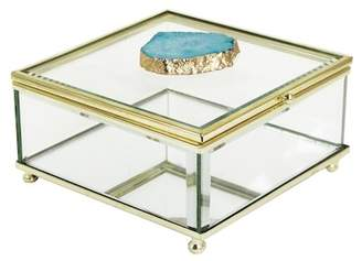 Jay Import Teal/Gold Agate Detail Glass Box