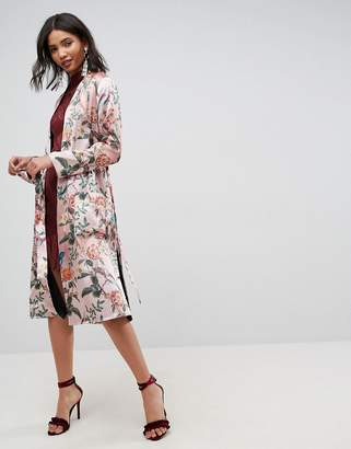 Asos Embroidered Flower Maxi Kimono