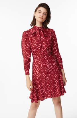 Rebecca Taylor Blurry Heart Silk Tie Neck Dress