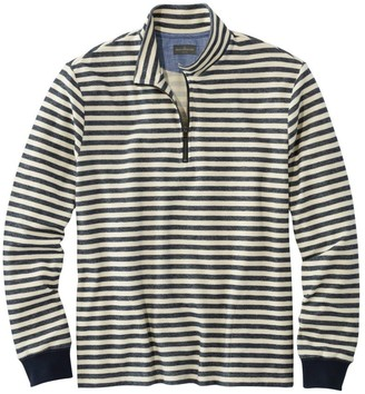 L.L. Bean L.L.Bean Men's Signature French Terry Pullover, Quarter-Zip, Long Sleeve, Stripe, Slim Fit