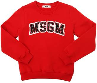 MSGM Sequined Logo Cotton Sweatshirt