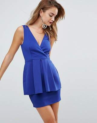 Asos DESIGN Scuba Deep Plunge Peplum Mini Dress