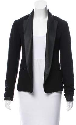 Theory Leather-Trimmed Tailored Blazer w/ Tags