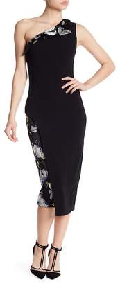 Cinq à Sept Noelle Embroidered Asymmetrical One-Shoulder Dress