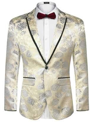COOFANDYen's Floral Party Dress Suit Blazer Notched Lapel Jacket One Button Tuxedo