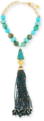 Devon Leigh Turquoise & Chrysoprase Tassel Necklace