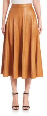 Ralph Lauren Collection Roxana Leather Midi Skirt $3,990 thestylecure.com