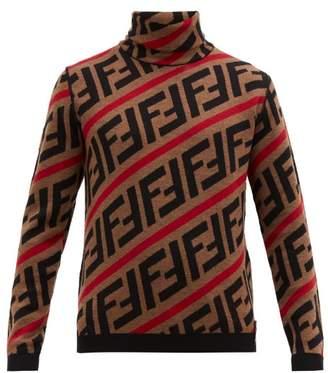 Fendi Ff Intarsia Roll Neck Wool Sweater - Mens - Brown