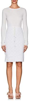 Nina Ricci WOMEN'S LACE-SKIRT LONG-SLEEVE WOOL DRESS