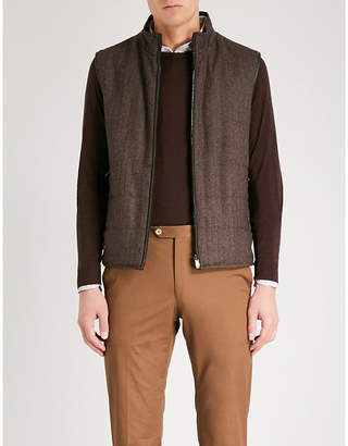 Corneliani Reversible wool and cashmere-blend and suedette gilet