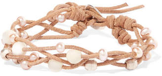 Chan Luu Suede, Pearl And Silver-tone Bracelet - Beige