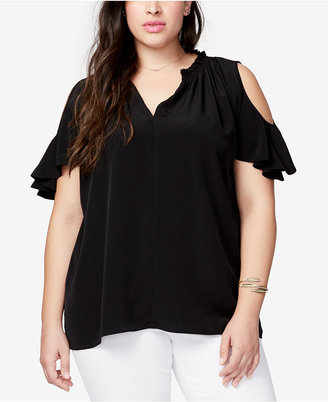 Rachel Rachel Roy Trendy Plus Size V-Neck Cold-Shoulder Top $89 thestylecure.com