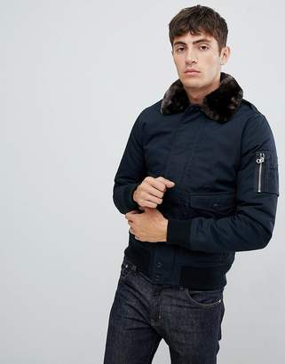 Schott Air bomber jacket with detachable faux fur collar in slim fit in navy/brown