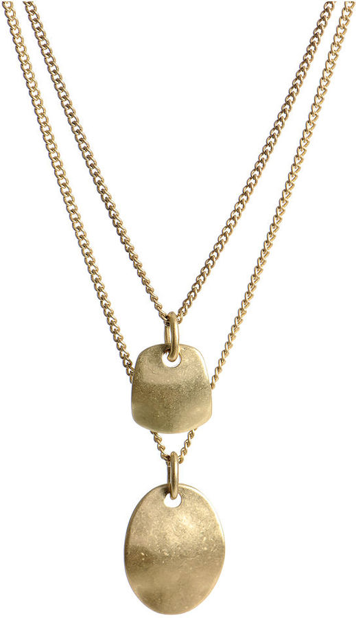 Kenneth Cole New York Necklace, Gold-Tone Double Drop Shape Pendant