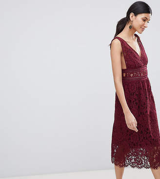 Y.A.S Tall lace midi skater dress in burgundy