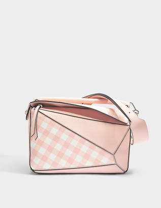 Loewe Puzzle Gingham Bag in Salmon Soft Grained Calf and Classic Calf