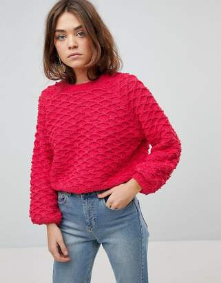 Only Diamond Bobble Sweater With Bell Sleeves