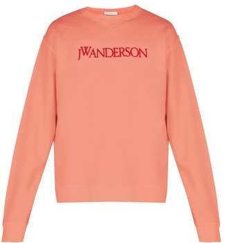 J.W.Anderson Logo Embroidered Cotton Sweatshirt - Mens - Pink
