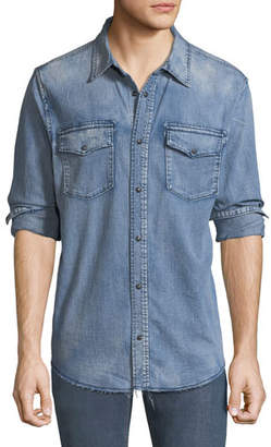Hudson Men's Flap-Pocket Denim Shirt