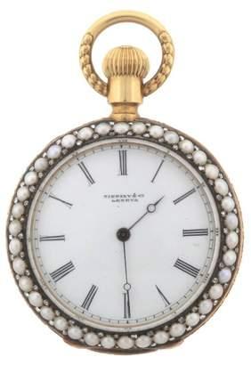 Tiffany & Co. 18K Gold Pearl Diamond Triple Signed Open Face Pocket 35mm Watch