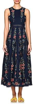 Zimmermann Women's Laelia Floral Cross-Stitched Linen-Cotton Dress - Navy