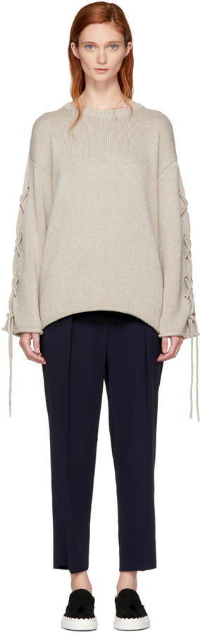See by Chloe Beige Lace-up Sweater