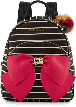 Betsey Johnson Bow Striped Faux-Leather Backpack, Black $105 thestylecure.com