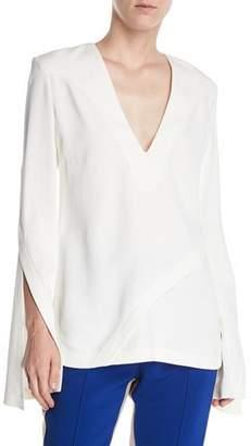 Derek Lam V-Neck Split-Sleeves Asymmetrical-Seams Pebble Crepe Top