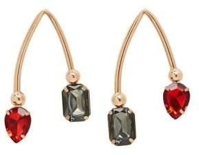 Violeta BY MANGO Bicolor pendant crystal earrings