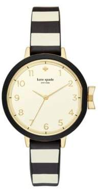 Kate Spade Bow Stainless Steel Park Row 3-Hand Leather Strap Watch
