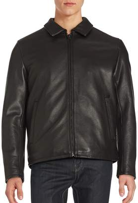 Vince Camuto Men's Solid Leather Jacket