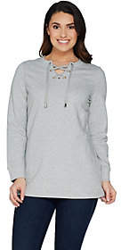 Denim & Co. Active Long Sleeve Crew Neck Top w/Lace Up Detail