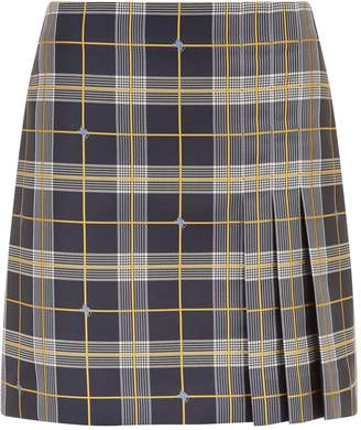 Burberry Pleat Detail Check Mini Skirt