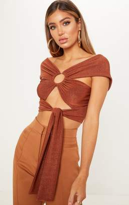 PrettyLittleThing Brown Textured Slinky Ring Detail Wrap Crop Top
