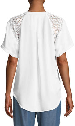 Bobeau Carey Lace-Shoulder Short-Sleeve Blouse