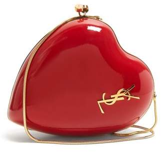 Saint Laurent Heart Shaped Leather Minaudiere - Womens - Red