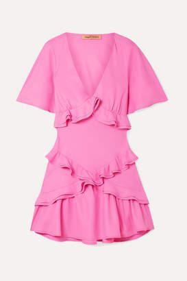 Maggie Marilyn Net Sustain The Jones Ruffled Recycled Crepe De Chine Mini Dress - Pink