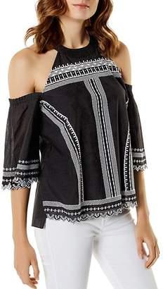 Karen Millen Embroidered Cold-Shoulder Top
