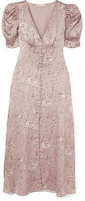 LoveShackFancy Delaney Floral-print Silk-satin Midi Dress - Pastel pink